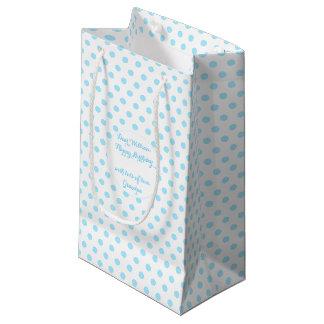空色の水玉模様のカスタムな挨拶の文字のギフトバッグ スモールペーパーバッグ