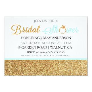 空色の金ゴールドのグリッターのブライダルシャワーの招待状 カード