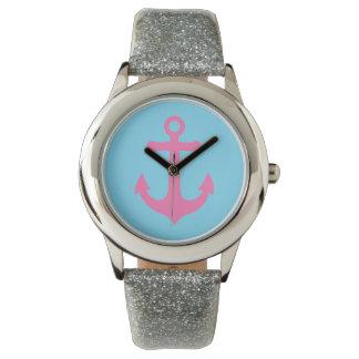 空色、ピンクのガーリーで航海のないかりの腕時計 腕時計