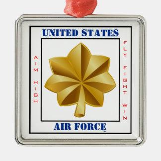 空軍専攻のなO-4スローガン シルバーカラー正方形オーナメント