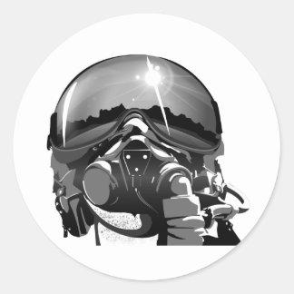 空軍試験ヘルメットおよびマスク 丸形シール・ステッカー