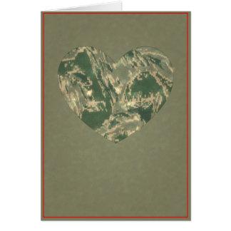 空軍迷彩柄のバレンタインのハート-バレンタインデー カード