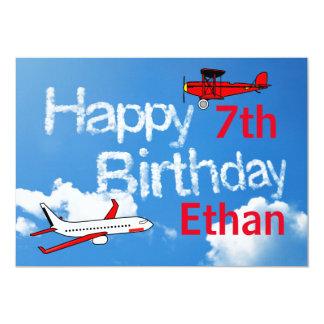 空-男の子の誕生日の招待状の飛行機 カード