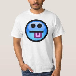 突き出る舌を搭載する青いスマイリーフェイス。 おもしろい! Tシャツ