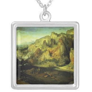 突撃を用いる山の景色、c.1585 シルバープレートネックレス