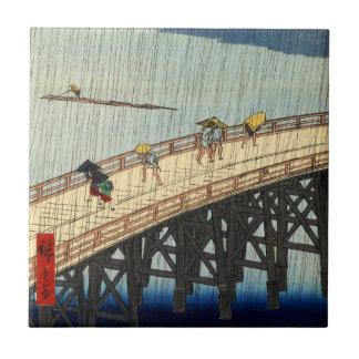突然の雨、広重の突然雨、Hiroshige、Ukiyo-e タイル