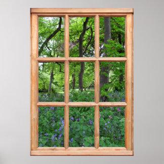 窓からのおとぎ話の庭の眺め(優れた) ポスター
