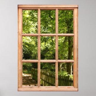 窓からの森林道の眺め ポスター