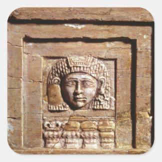 窓で女性を描写するレリーフ、浮き彫り スクエアシール