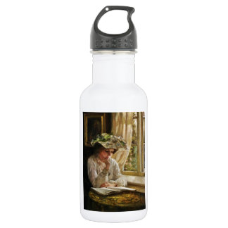 窓によるReading女性 ウォーターボトル