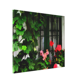 窓のまわりのデマそしてゼラニウム キャンバスプリント