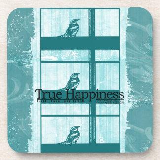 窓のティール(緑がかった色)の鳥 コースター