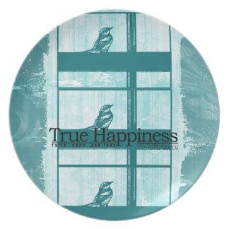 窓のティール(緑がかった色)の鳥 プレート