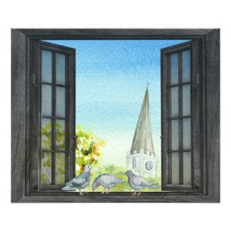 窓の写真のプリントのハト フォトプリント