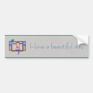 窓の土台ピクセル芸術の女の子 バンパーステッカー