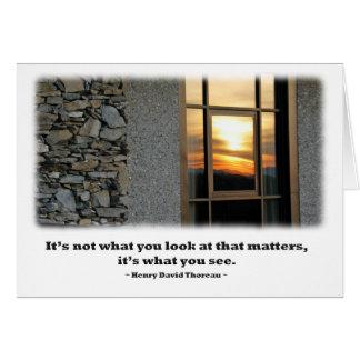 窓の日没の反射- Thoreauの引用文 カード