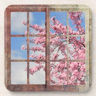 窓の桜の木 コースター