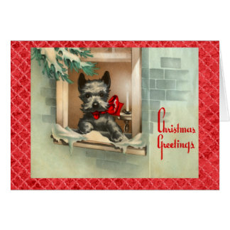 窓の赤の黒いスコッチテリア犬 カード