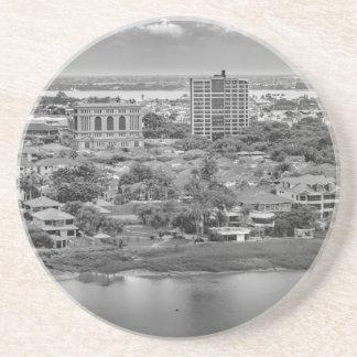 窓の飛行機からのグアヤキルの空中写真 コースター