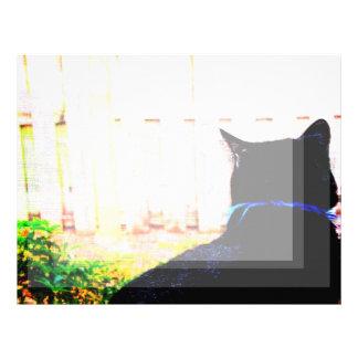 窓を見る背部からの黒猫 レターヘッド
