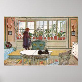 窓辺の花、カールラーション ポスター