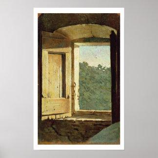 窓(キャンバスの油) ポスター