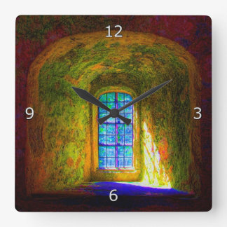 窓-印象派のスタイル--を望みます スクエア壁時計