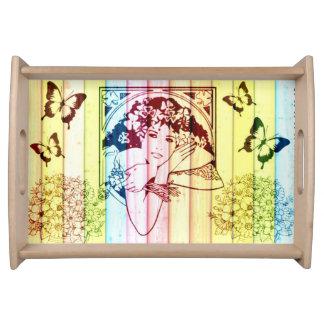 窓-木製の効果のヴィンテージの女の子 トレー