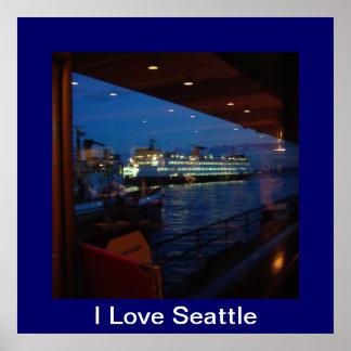 窓= I愛シアトルによるフェリー ポスター