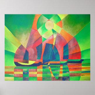 立体派の芸術家の抽象芸術のがらくたとの緑の海 ポスター