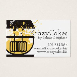 立場のミキサーのケーキねり粉の(ばちゃばちゃ)跳ねるのパン屋のベーキング 名刺