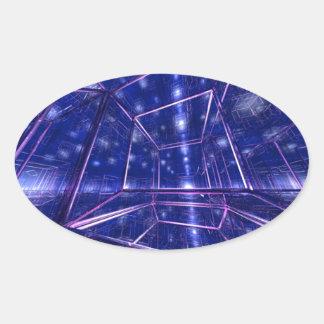 立方体になるコンテンポラリーでモダンなデジタル芸術 楕円形シール