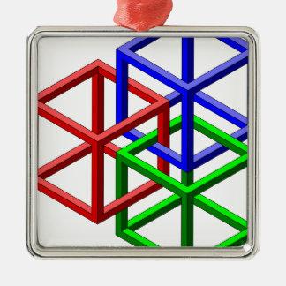 立方体の不可能な幾何学の目の錯覚 シルバーカラー正方形オーナメント