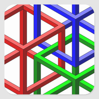 立方体の不可能な幾何学の目の錯覚 スクエアシール