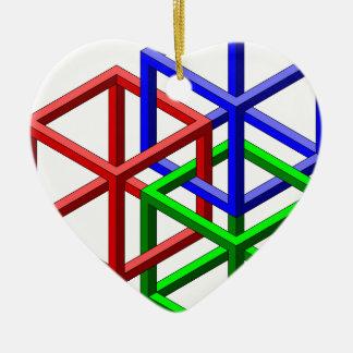 立方体の不可能な幾何学の目の錯覚 セラミックオーナメント