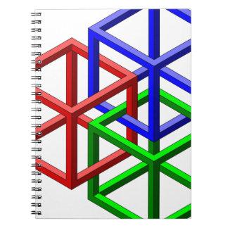 立方体の不可能な幾何学の目の錯覚 ノートブック