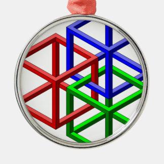 立方体の不可能な幾何学の目の錯覚 メタルオーナメント