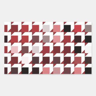 立方体赤い01 長方形シール