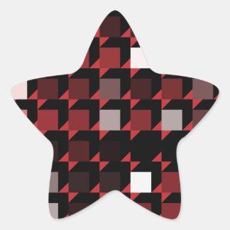 立方体赤い04 星シール