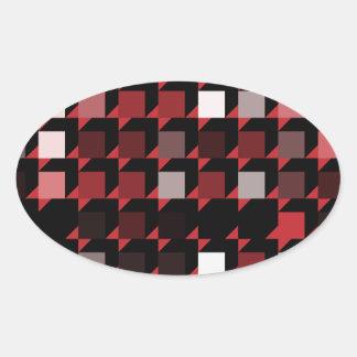 立方体赤い04 楕円形シール