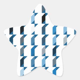立方体青い02 星シール