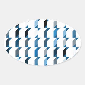 立方体青い02 楕円形シール