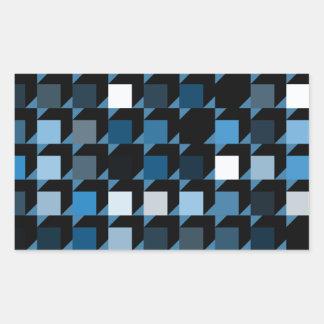 立方体青い04 長方形シール