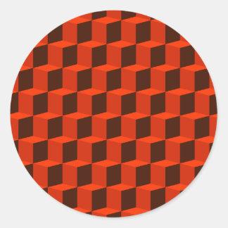 立方体3次元3Dパターンデザイン ラウンドシール