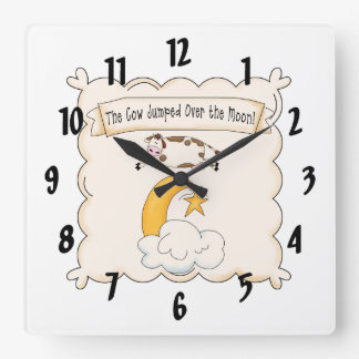 童謡牛及び月の子供の時計 スクエア壁時計