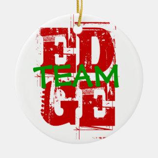 端のチームオーナメント-クリスマス色 陶器製丸型オーナメント