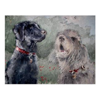 端への友人。 ラブラドール及びカワウソ猟犬 ポストカード