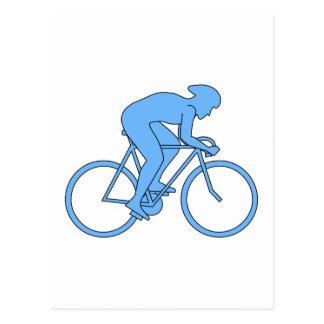 競争のサイクリスト。 青い ポストカード
