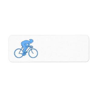 競争のサイクリスト。 青い ラベル
