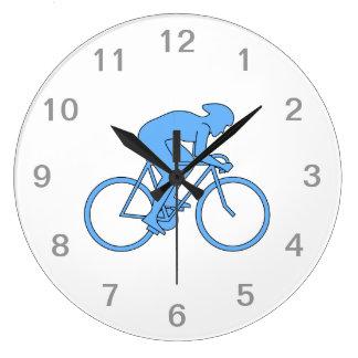 競争のサイクリスト。 青い ラージ壁時計
